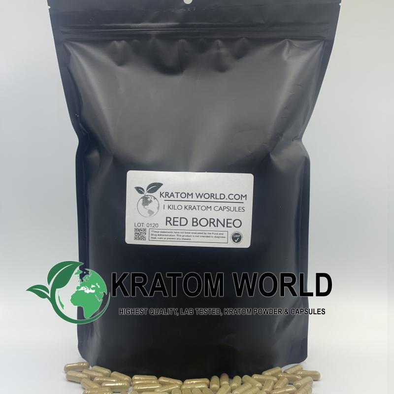 Red Borneo Kratom Capsules 1 Kilo (1000 grams)